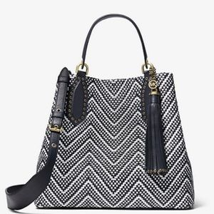 Michael Kors Bags - Michael Kors Brooklyn Large Woven Leather Satchel